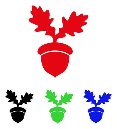 Oak acorn icon. Vector illustration style is a flat iconic oak acorn symbol with black, red, green and blue color versions. Illustration