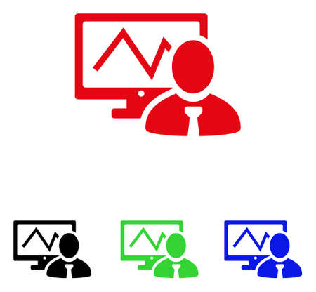 Online trader icon. Vector illustration style is a flat iconic online trader symbol with black, red, green and blue color variants.