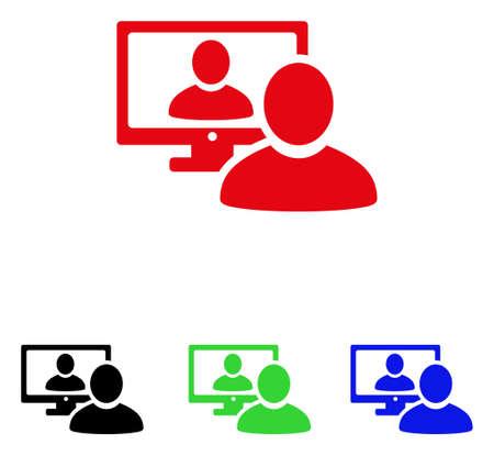 オンライン ビデオ チャット アイコン。ベクトル イラストのスタイルは、黒、赤、緑の abd の青い色のバージョンとフラット象徴的なオンライン ビ