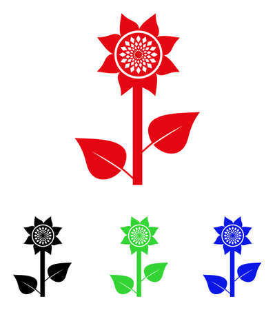 greenery: Sunflower Plant icon. Vector illustration style is a flat iconic sunflower plant symbol with black, red, green, blue color versions. Designed for web and software interfaces.