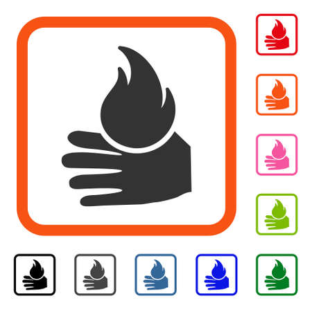 Burn Hand icon. Flat grey iconic symbol in an orange rounded rectangle. Black, gray, green, blue, red, orange color versions of Burn Hand vector. Designed for web and app user interface.
