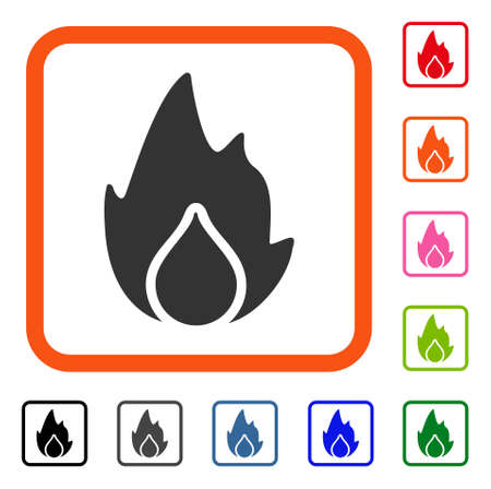 Fire And Water Drop icon. Flat gray pictogram symbol inside an orange rounded square. Black, gray, green, blue, red, orange color variants of Fire And Water Drop vector. Illustration
