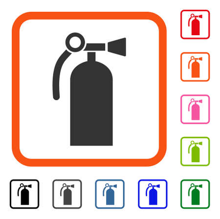 Fire Extinguisher icon. Flat gray iconic symbol in an orange rounded square. Black, gray, green, blue, red, orange color versions of Fire Extinguisher vector. Designed for web and application UI. Illustration