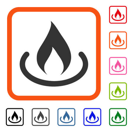 Fire Place icon. Flat gray pictogram symbol in an orange rounded rectangle. Black, gray, green, blue, red, orange color additional versions of Fire Place vector. Designed for web and app UI.