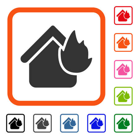Home fire disaster icon. Flat grey iconic symbol inside an orange rounded rectangular frame.