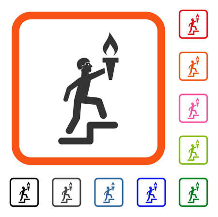 Soldier Climbing With Torch icon. Flat grey pictogram symbol inside an orange rounded square. Black, gray, green, blue, red, orange color variants of Soldier Climbing With Torch vector.