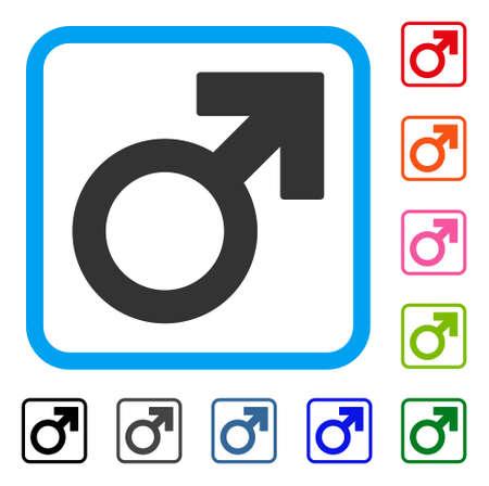 Male Symbol icon. Flat gray pictogram symbol inside a light blue rounded rectangle. Black, gray, green, blue, red, orange color variants of Male Symbol vector. Designed for web and app UI. Illustration