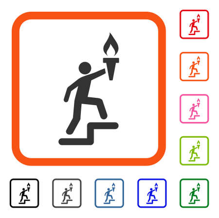 Leader Climb With Torch icon. Flat gray pictogram symbol in an orange rounded rectangle. Black, gray, green, blue, red, orange color additional versions of Leader Climb With Torch vector.