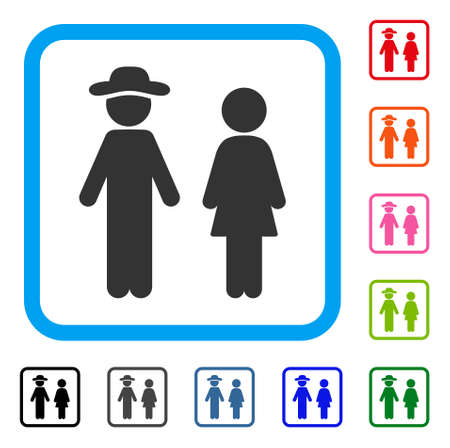 Gentleman And Lady icon flat grey pictogram symbol in a light blue rounded square. Black, gray, green, blue, red, orange color additional versions of Gentleman And Lady vector.