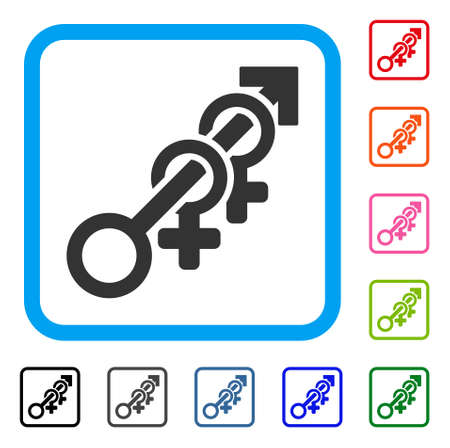 Harem icon. Flat gray iconic symbol in a light blue rounded rectangular frame. Black, gray, green, blue, red, orange color additional versions of Harem vector. Designed for web and software UI.