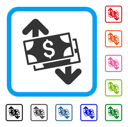 Banknotes Spending icon symbol inside rounded square in different colors set, design illustration. Illustration