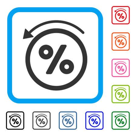 リベートのパーセントアイコン。水色の丸い正方形のフレーム内のフラットグレーの象徴的なシンボル。黒、グレー、緑、青、赤、オレンジ色のリ