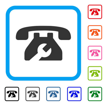 Repair service phone icon. Flat grey iconic symbol inside a light blue rounded square.
