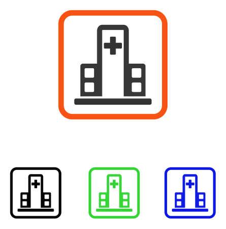 Hospital Building Icon Flat Grey Iconic Symbol In An Orange