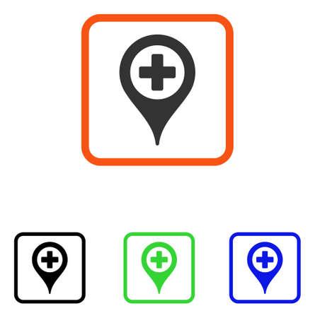 Hospital Map Pointer Icon Flat Grey Iconic Symbol In An Orange