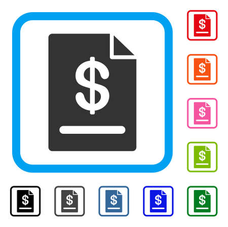 Invoice icon symbol in a light blue rounded rectangle with black, gray, green, blue, red, orange color additional versions of Invoice Designed Illustration