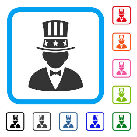 Capitalist icon. Flat grey pictogram symbol inside a light blue rounded rectangle. Black, gray, green, blue, red, orange color variants of Capitalist vector. Illustration