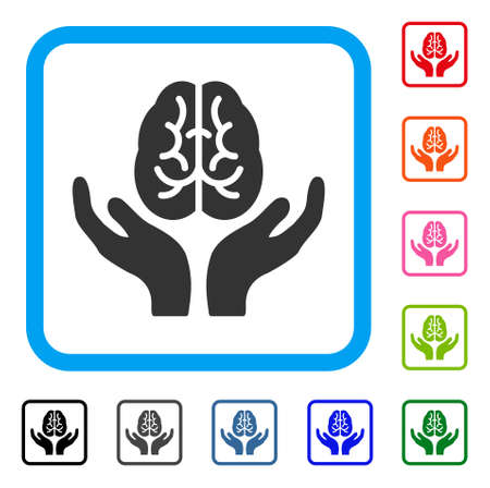 Brain Care Hands icon. Flat gray iconic symbol inside a light blue rounded square. Black, gray, green, blue, red, orange color additional versions of Brain Care Hands vector.