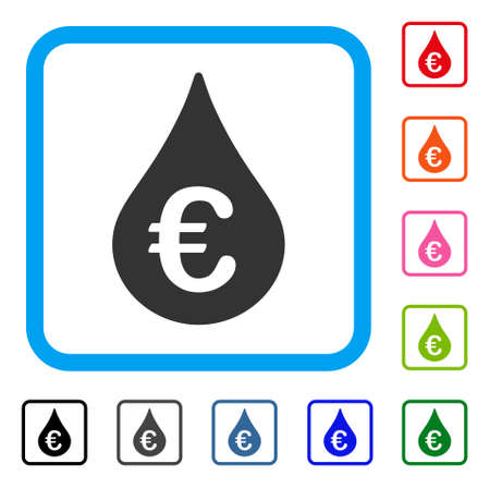 Euro Fuel Drop icon. Illustration