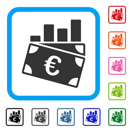 ユーロの売り上げ高のグラフ アイコン