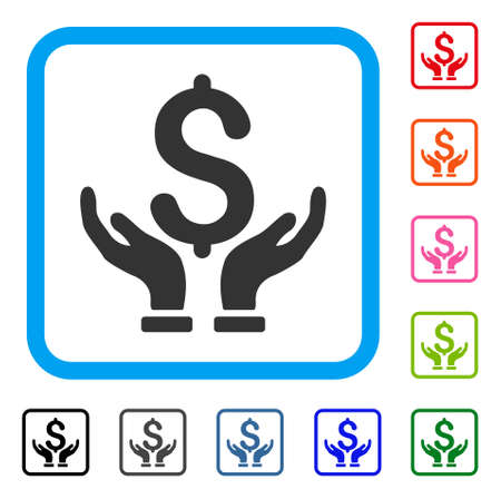 Financial insurance hands icon.