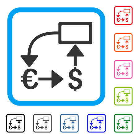 Euro dollar flow chart icon. Illustration