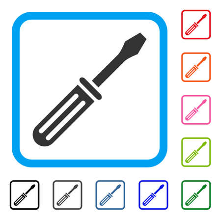 Screwdriver icon. Flat gray pictogram symbol in a light blue rounded rectangle. Black, gray, green, blue, red, orange color variants of Screwdriver vector.