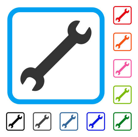 Wrench icon. Flat grey iconic symbol inside a light blue rounded frame. Black, gray, green, blue, red, orange color versions of Wrench vector. Designed for web and application user interface. Ilustrace