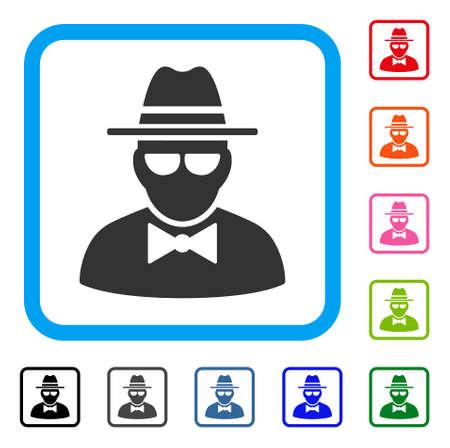 Secret Agent icon. Flat gray pictogram symbol inside a light blue rounded rectangular frame. Black, gray, green, blue, red, orange color versions of Secret Agent vector. Ilustração