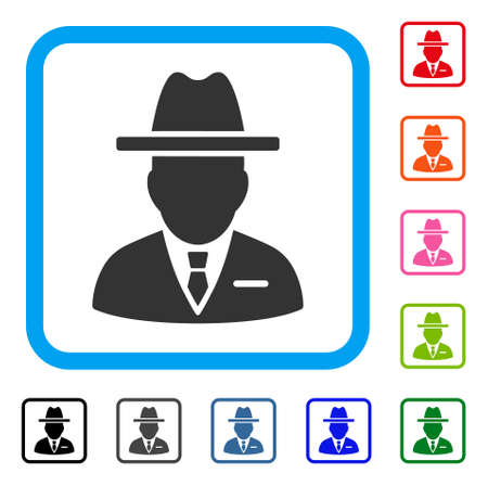 Spy icon symbol in a rounded square, designed for web and apps interfaces. Illustration