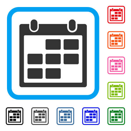 Calendar Month symbol icon set inside a rounded rectangular frame.