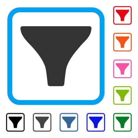 Filter symboolpictogram ingesteld in een afgerond rechthoekig kader. Stock Illustratie