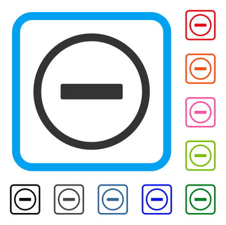 Remove icon. Flat gray pictogram symbol in a light blue rounded square. Ilustração
