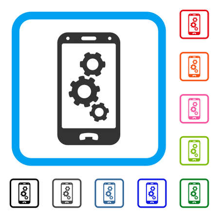 Cellphone settings Gears icon. Illustration