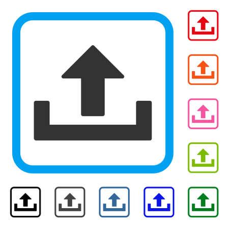 Upload icon. Flat grey iconic symbol inside a light blue rounded frame.