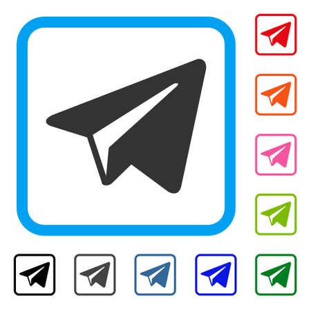 Freelance paper plane icon. Flat gray iconic symbol inside a light blue rounded square.