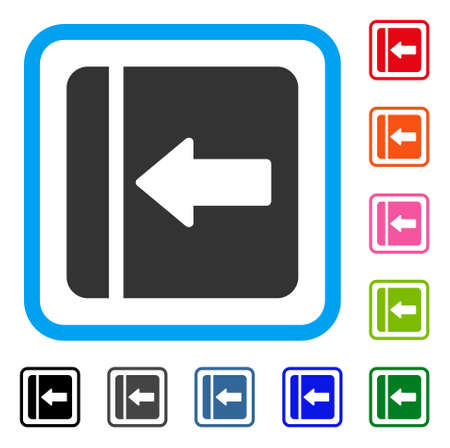 Hide Menu Left icon. Flat gray pictogram symbol inside a light blue rounded square. Black, gray, green, blue, red, orange color variants of Hide Menu Left vector.
