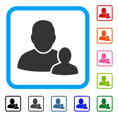 Child Parent icon. Flat grey pictogram symbol inside a light blue rounded square. Black, gray, green, blue, red, orange color versions of Child Parent vector. Designed for web and app user interface. Stock Vector - 88462543