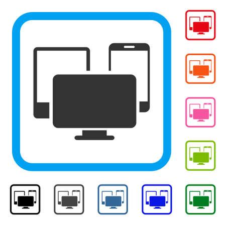 Icona dei dispositivi elettronici. Simbolo iconico piatto grigio in un quadrato arrotondato blu chiaro. Versioni di colore nero, grigio, verde, blu, rosso, arancione del vettore di dispositivi elettronici. Progettato per l'interfaccia utente web e software. Vettoriali