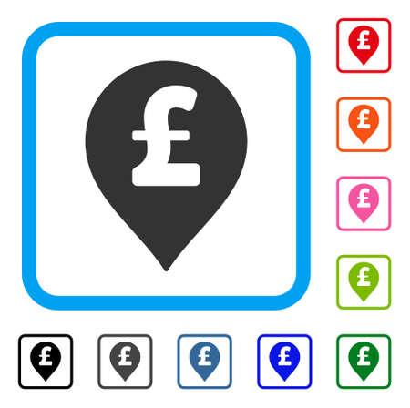 Pound sterling marker icon. Flat grey pictogram symbol inside a light blue rounded frame.