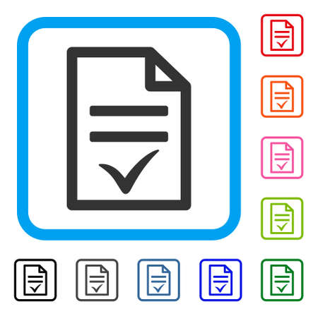 Agreement Document icon. Flat gray pictogram symbol inside a light blue rounded square. Black, gray, green, blue, red, orange color variants of Agreement Document vector.