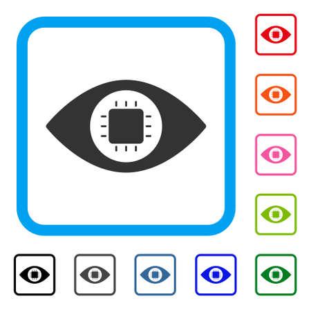 バイオニックの目回路アイコン。水色のフラット グレー ピクトグラム シンボルは、長方形のフレームを丸められます。黒、灰色、緑、青、赤、オ