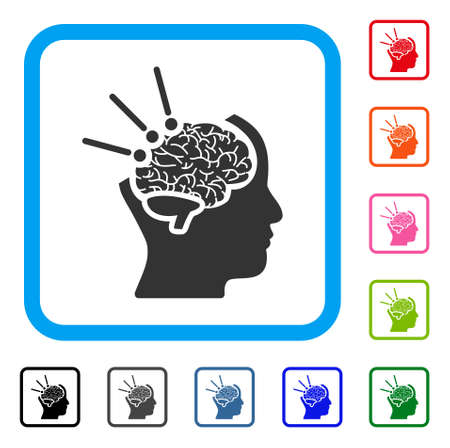 Brain Operation icon. Flat grey pictogram symbol in a light blue rounded squared frame. Black, gray, green, blue, red, orange color variants of Brain Operation vector. Designed for web and app UI.