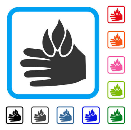 Burn Hand icon. Flat grey pictogram symbol in a light blue rounded squared frame. Black, gray, green, blue, red, orange color additional versions of Burn Hand vector.