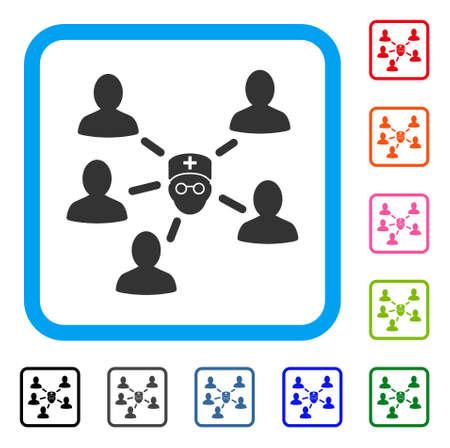 Arzt-Patienten-Symbol. Flaches graues Piktogrammsymbol in einem hellblauen abgerundeten rechteckigen Rahmen. Schwarze, graue, grüne, blaue, rote, orange Farbversionen von Doctor Patients-Vektor. Entwickelt für Web- und App-Benutzeroberfläche.