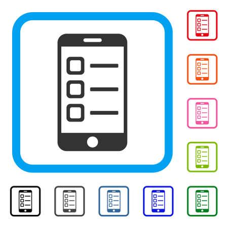 Mobiele lijst pictogram. Vlak grijs pictogramsymbool in een lichtblauw rond gemaakt rechthoekig kader. Zwart, grijs, groen, blauw, rood, oranje kleurenversies van mobiele lijstvector. Stock Illustratie