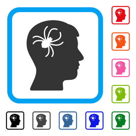 Mental Parasite Spider icon. Flat grey pictogram symbol inside a light blue rounded square. Black, gray, green, blue, red, orange color additional versions of Mental Parasite Spider vector. Illustration