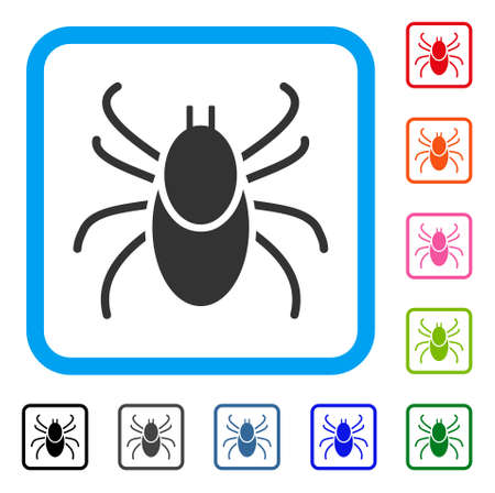 Mite Tick icon. Flat grey pictogram symbol in a light blue rounded rectangular frame. Black, gray, green, blue, red, orange color additional versions of Mite Tick vector. 向量圖像