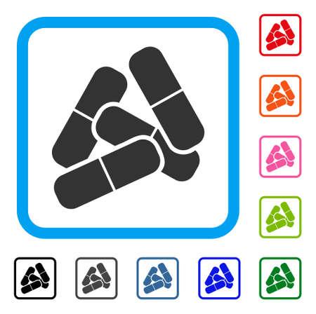 Pillen icoon. Vlak grijs iconisch symbool in een lichtblauwe afgeronde rechthoek. Zwart, grijs, groen, blauw, rood, oranje kleurenversies van de vector van Pillen. Ontworpen voor web en software gebruikersinterface. Stock Illustratie