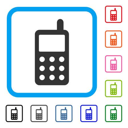 Icône d'émetteur radio portable. Symbole iconique plat gris dans un rectangle arrondi bleu clair. Noir, gris, vert, bleu, rouge, orange, versions additionnelles du vecteur émetteur radio portable. Banque d'images - 88579888